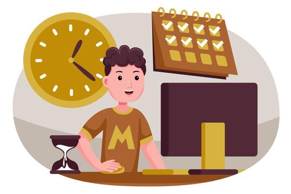 Chico (en dibujo) siendo productivo para tener estrategias de venta más eficientes en menos tiempo.