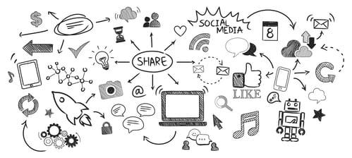 Imagen que muestra cómo la gran idea es el hilo conductor que corre por todos los canales digitales. La gran idea es la segunda de las estrategias de diferenciación.